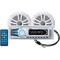 BOSS Audio MCK1308WB.6 Receiver / Speaker Package, Bluetooth, MP3/USB/SD AM/FM Marine Stereo, Detachable Front Panel, Wireless Remote (No CD/DVD), Two 6.5 Inch Speakers, Antenna