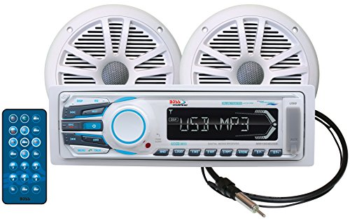 BOSS Audio MCK1308WB.6 Receiver/Speaker Package, Bluetooth, MP3/USB/SD AM/FM Marine Stereo, Detachable Front Panel, Wireless Remote (No CD/DVD), Two 6.5 Inch Speakers, Antenna