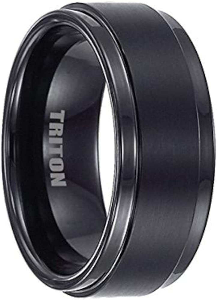 Triton Tungsten Carbide 9mm Satin Center Polished Step Edge Band Ring