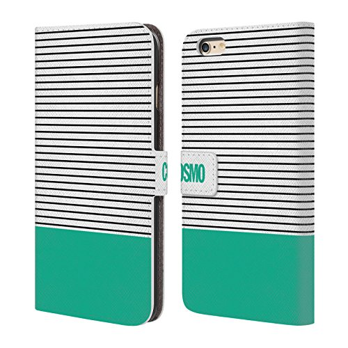 Official Cosmopolitan Teal 1 Stripes Collection Leather Book Wallet Case Cover For Apple iPhone 6 Plus / 6s Plus