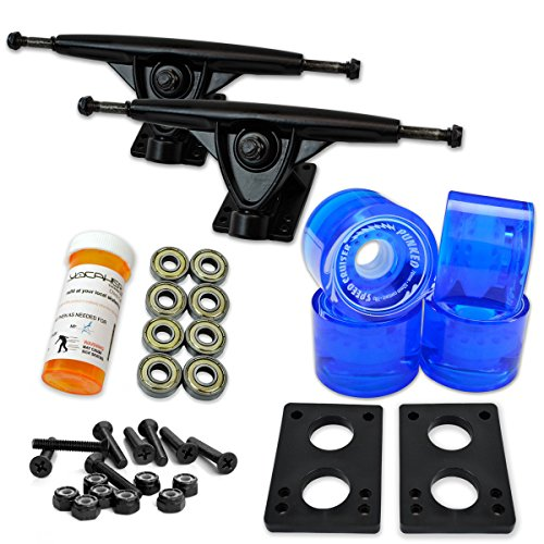 "Yocaher Longboard Skateboard Trucks Combo Set w/ 71mm Wheels + 9.675"" Polished/Black Trucks Package, Gel Blue Wheel, Black Trucks"