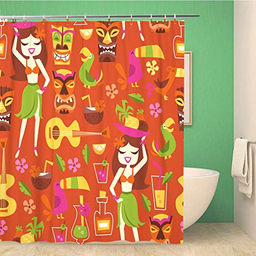 Awowee Bathroom Shower Curtain Tiki of 1960S Retro Inspired Cute Hawaiian Luau Party Polyester Fabric 60x72 inches Waterproof Bath Curtain Set with Hooks ()
