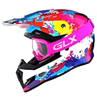 GLX DOT Youth Kids Motocross ATV Dirt Bike Helmet Off Road Graffiti Pink+Goggles+Gloves (M) by GSB
