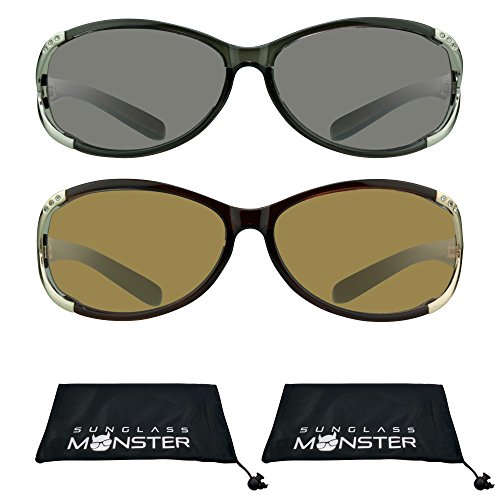 Reading Sun Glasses Tinted with Rhinestones for Women (Black Silver + Brown Gold, 2.50) (Rhinestone Brown Glasses Reading)