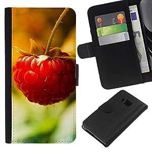 KingStore / Leather Etui en cuir / HTC One M9 / Macro de la fruta de la frambuesa de Lonely