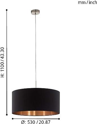 EGLO PASTERI iluminación de techo Negro, Cobre, Níquel E27 Lámpara (Negro, Cobre, Níquel, Salón, Cilindro, Cepillado, Tela, Acero, I)