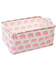 Pink Elephant Toy Storage Bins Canvas Collapsible Storage Basket with Handles Toy Organizer for Nursery, Kid's Toys, Closet & Laundry, Gift Basket
