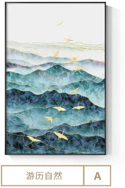 Cartelera Moderna Lienzo de Arte Paisaje de Luna Natural con pájaros del Bosque Cuadros de Pared para Sala de Estar Pintura de Lienzo de Arte -60x90cm -sin Marco