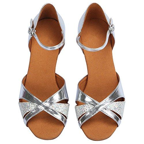 HROYL Zapatos de baile/Zapatos latinos de satén mujeres ES-4240 Plateado