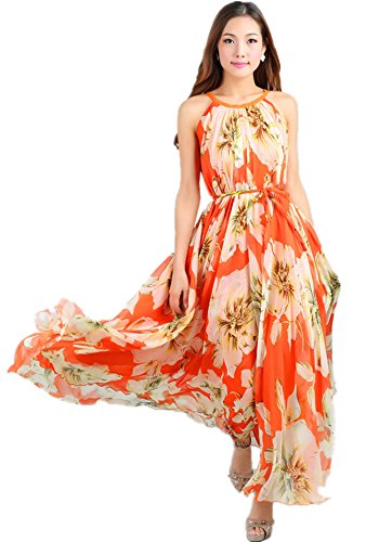 Medeshe Women's Chiffon Floral Holiday Beach Bridesmaid Maxi Dress Sundress (Medium, Orange Lily)