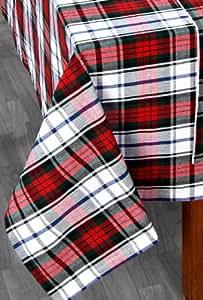 Homescapes Mantel de Mesa con Patrón de Cuadros Rojo y Verde 137 x 228 cm