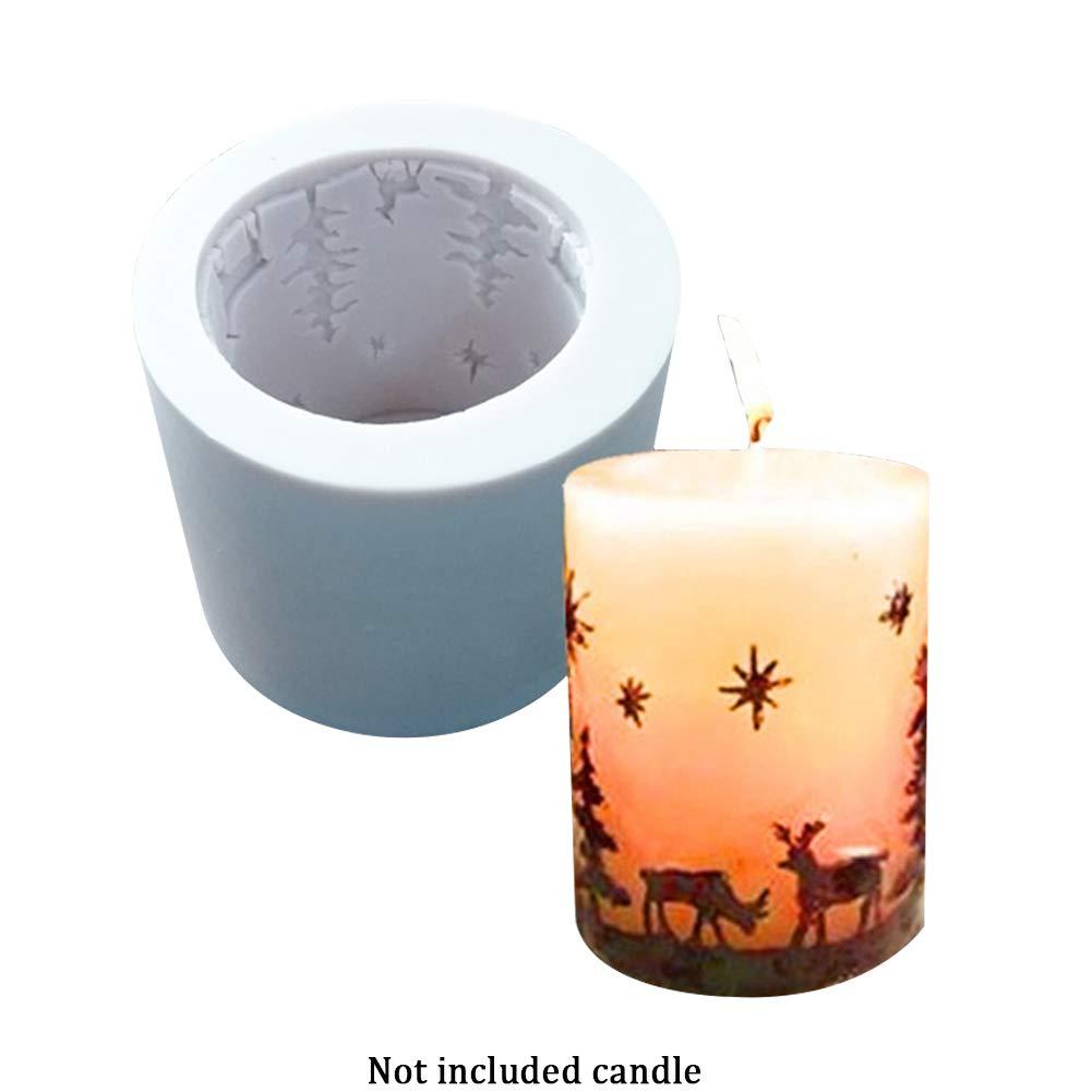 3D Candle Mold, stampo in silicone per Natale candela cilindro/stampi di sapone, ideale per fai da te per realizzare candele, sapone e cottura, fai da te a mano Decor Tool Taglia libera Light Gray SUPEWOLD