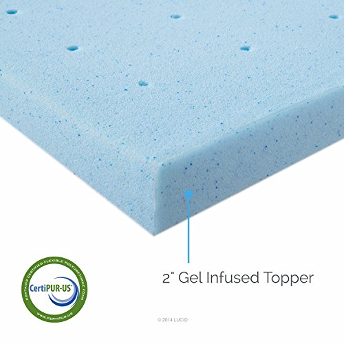 LUCID 2 Inch Gel Infused Ventilated Memory Foam Mattress Topper - 3-Year...