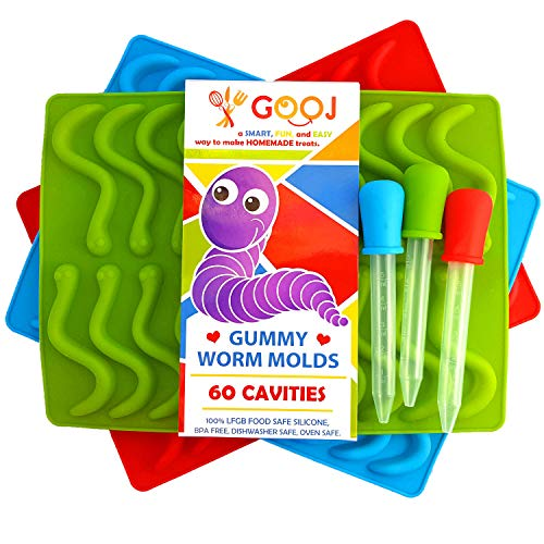 3 Pack of 60 Pieces Gooj New Gummy Worm LFGB, BPA Free Silicone Mold Candy Molds With Printed Recipe Plus 3 Droppers 100% Pure Silicone Chocolate molds and Ice Tray