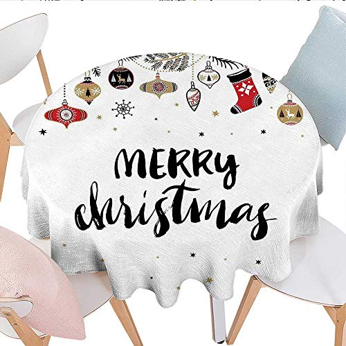 Round Tablecloth Merry Xmas Quote Modern Brush Lettering Creative Noel Phrase Inspirational Print Waterproof Circle Tablecloths D70 Multi ()