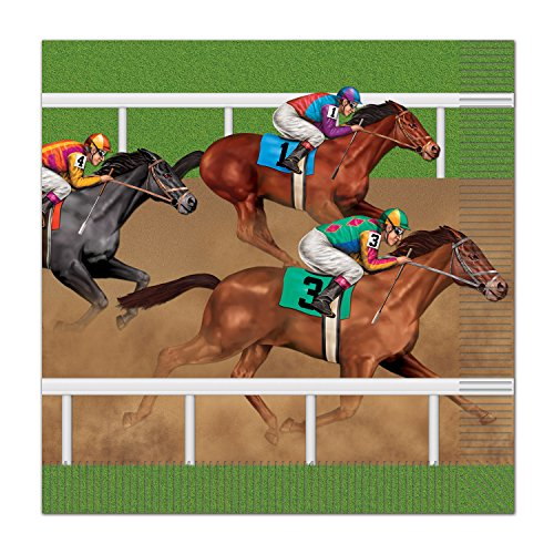 Beistle Horse Racing Luncheon Napkins, Multicolor -