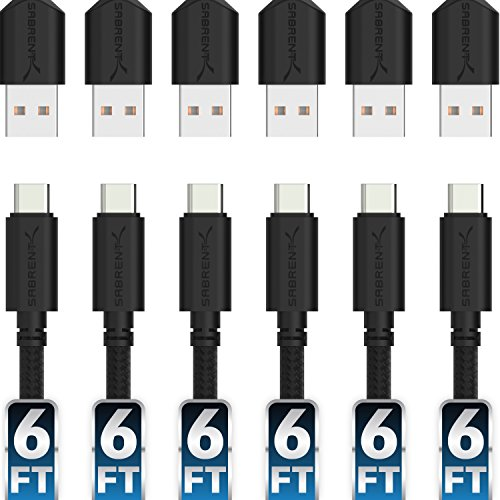 Sabrent [6-Pack] 22AWG Premium 6ft USB-C to USB A 2.0 Sync and Charge Cables [Black] (CB-C6X6)