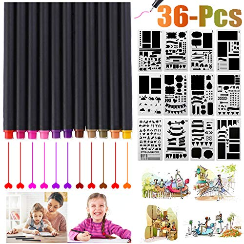 Fineliner Pens, Outgeek Bullet Supplies Journal Drawing Pens No Bleed Pens 24 Color and 12PCS Stencil Notebook Diary Scrapbook DIY Drawing Templates Plastic Planner Kit