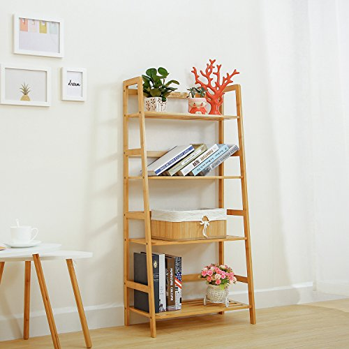 Ollieroo Natural Bamboo 4 Tier Bookcase, Multi-Functional Book Shelf Storage Rack, Plants Stand Display Shelf