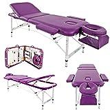 Mesa de masaje Cama de aluminio Aluminio Ligero Profesional Belleza Tatuaje Spa Reiki Portátil Plegado 3 secciones con bolsa de espuma de cuero PU de primera calidad Blanco (213 cm / 15 kg / Capacidad de carga 250 kg,B