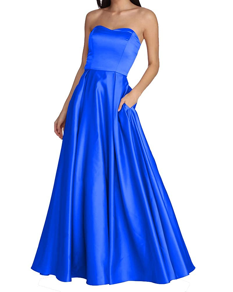 bluee Women's Strapless Long Prom Dresses A Line Satin Homecoming Party Gowns with Pockets BD040