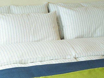 LinenMe Duvet Cover 86X 86 White Blue striped LinenMe Inc 0033404