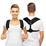 TriLink Back Posture Corrector for Women & Men - Adjustable and Comfortable Posture Back Brace - Clavicle Support Invisible Under Clothes - Upper Back Pain Relief (Black)