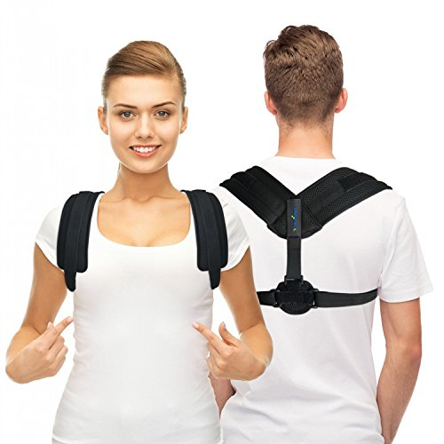 TriLink Back Posture Corrector for Women & Men - Adjustable and Comfortable Posture Back Brace - Clavicle Support Invisible Under Clothes - Upper Back Pain Relief (Black) by TriLink