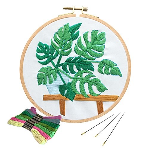 Unime Full Range of Embroidery Starter Kit with Partten, Cross Stitch Kit Including Embroidery Cloth with Color Pattern, Bamboo Embroidery Hoop, Color Threads, and Tools Kit (Monstera)