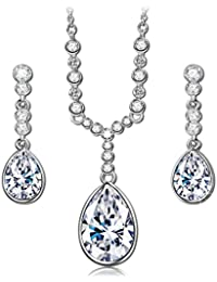 """""""Angle Tear"""" Necklace and Earrings Jewelry Set Made with Swarovski Crystals - Elegant and Charming!"""
