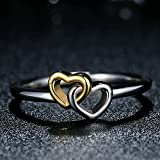F&F Ring Summer Collection Heart to Heart Ring Double Heart Fine Jewelry for Women Wedding Rings