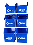 Blue Stackable Recycling Bin Container with Handle 6 Gallon - 6 Pack of Bins