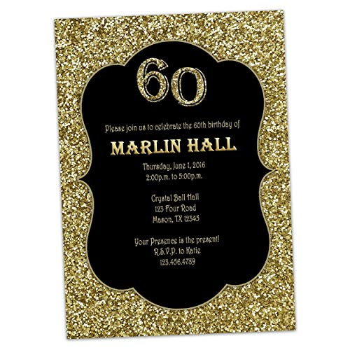 Milestone Black Gold Glitter Birthday Invitations Men Women 30th 40th 50th 60th 70th 80th]()