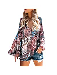 kingf Womens Casual V Neck Long Sleeve Floral Print T-Shirts Tops Blouse