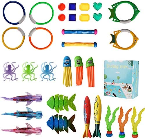 Pool Toys Diving Toy, Swimming Pool Toy Set Dive Rings Diving Sticks Pool Fish Diving Gems, Diving Pool Toy with Storage Bag and Box Underwater Games Training Toys for Boys Girls Summer Fun 32pcs