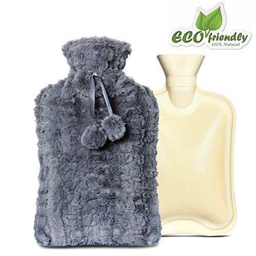 Bottle Knitted Hot Water Cover - 2 litres Hot Water Bottle with Knitted Cover Offers Safe Soothing Warmth, Effective Pain Relief for Muscle Aches, Cramps, Arthritis