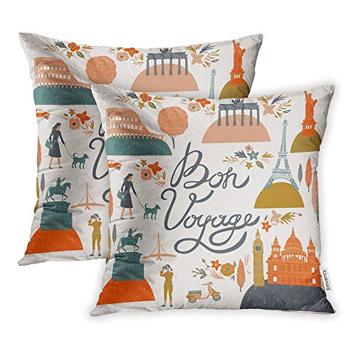 Emvency Set of 2 Throw Pillow Covers Print Polyester Zippered Travel Bon Voyage London Vintage Paris Dog Pillowcase 18x18 Square Decor for Home Bed Couch Sofa
