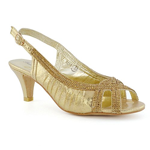 Essex Glam Dames Peep Toe Pumps Slingback Kitten Hak Glinsterende Sandalen Goud