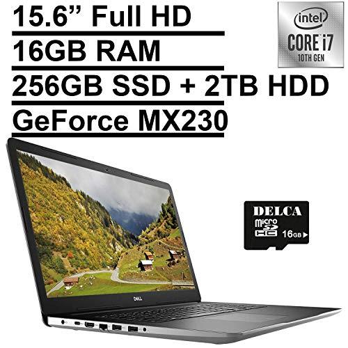 """2020 Dell Inspiron 17 3793 Business Laptop   17.3"""" Full HD   10th Gen Intel Core i7-1065G7   16GB RAM 256GB PCIe SSD + 2TB HDD   GeForce MX230   Maxx Audio Win 10 Pro + Delca 16GB SD Card"""