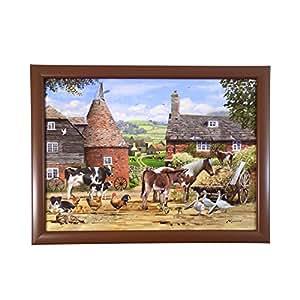 Vintage bandeja de país de animales de granja rojo marrón verde con cuentas Cojín 44x 32cm