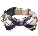Freezx Dog and Cat Collar with Bow Tie - Adjustable 100% Cotton Design for Big Dog Puppy Cat - Cute Fashion Dog and Cat Collar with Bow Ties - Red,Brown, Blue,Green,Yellow Plaid Stripe Pattern