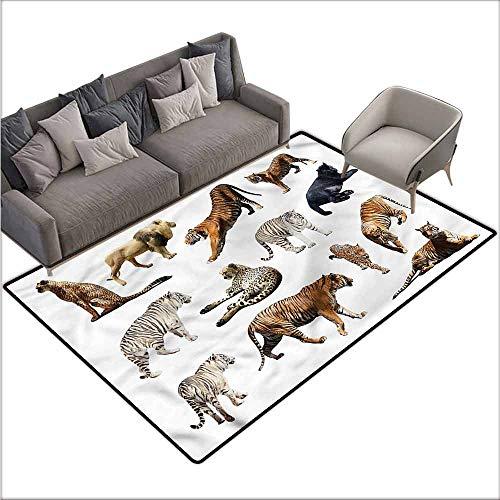Wildcats Printed Towel - Printed Mats for Children Bedroom Safari,Big Wild Cats Zoo Animals 80