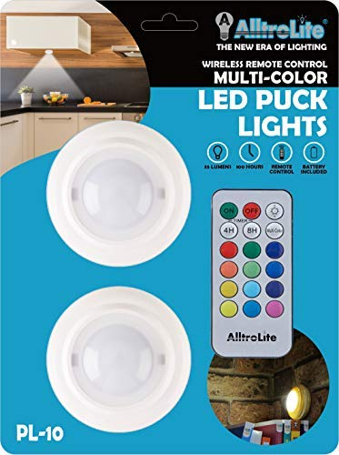 - 2-Pack PL10 Wireless Color Changing LED Puck Light with Remote Control | LED Under Cabinet Lighting | Closet Light | Under Counter Lighting | Stick On Lights | Batteries Included
