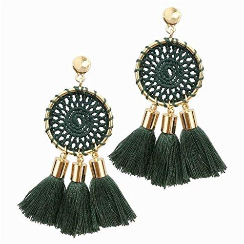 (Earings Women Fashion Weaving Tassels Earrings Women Beach Jewelry Long Dangle Drop Earrings Statement Brincosgreen)