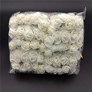 LAPOPNUT 144pcs Mini Artificial Fake Roses Flowers Bouquet Realistic PE Foam Flower Petals Stem Chiffon for Wedding Baby Shower Home Party Wreath Gift Box Decoration DIY Crown (Beige) 2