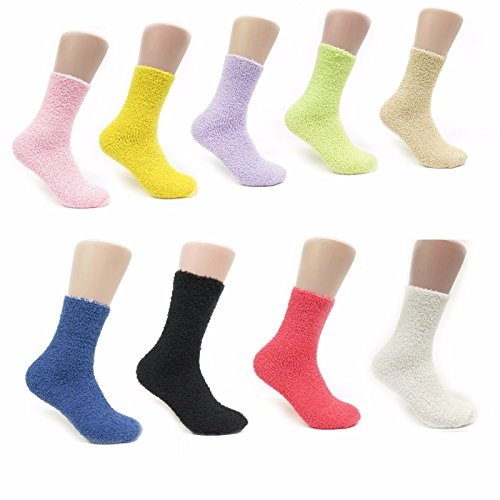 Price comparison product image Soft & Cosy 6 or 12 Pairs of Womens Crew Sock Soft Fuzzy and Striped Marijuana Colorful Weed Socks (Solid 6 Pack)