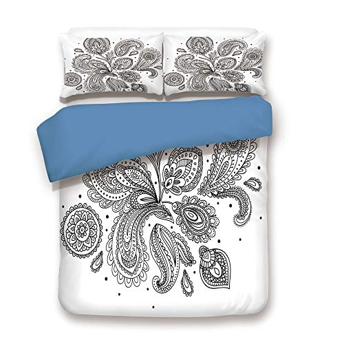 Duvet Cover Set,Blue Back,Henna,Eastern Inspired Various Ornamental Patterns Circles Lines Monochrome Image Print Decorative,Black White,Decorative 3 Pcs Bedding Set by 2 Pillow Shams,Full Size