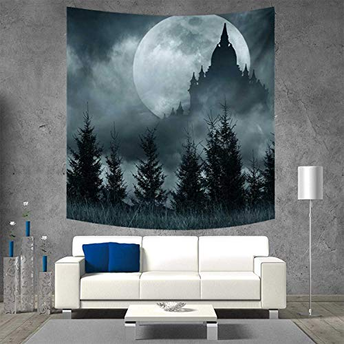Anniutwo Halloween Customed Widened Tapestry Magic Castle Silhouette Over Full Moon Night Fantasy Landscape Scary Forest Wall Hanging Tapestry 70W x 70L Inch Grey Pale -