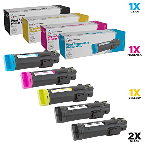LD Compatible Toner Cartridge Replacement for Xerox Phaser 6510 & WorkCentre 6515 High Yield (2 Black, 1 Cyan, 1 Magenta, 1 Yellow, 5-Pack) ()