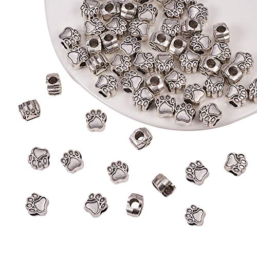 PH PandaHall 60pcs Antique Silver Pet Dog Puppy Paw Prints Metal Beads Fit Charm Necklace Bracelet (11x10.6mm, Hole: 4.8mm)
